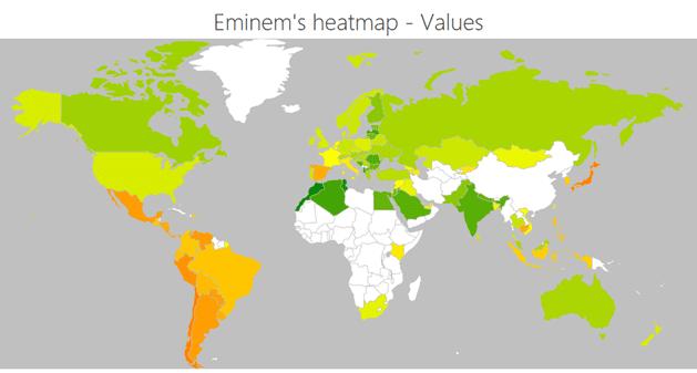 Eminem heatmap values