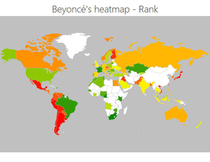 Beyoncé heatmap - rank