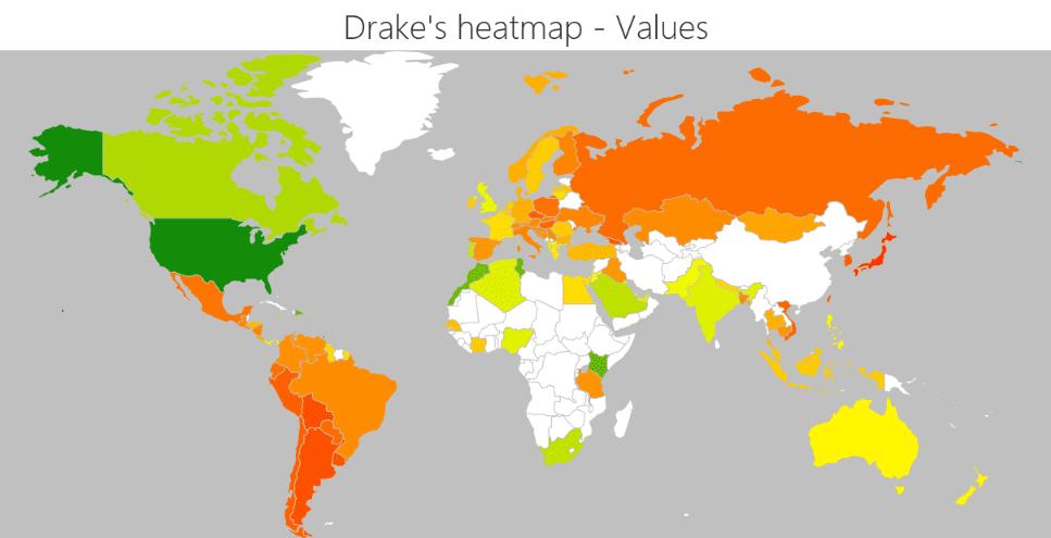 Drake's global heatmap - ChartMasters on
