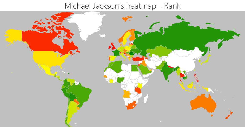 Michael Jackson biggest markets by rank