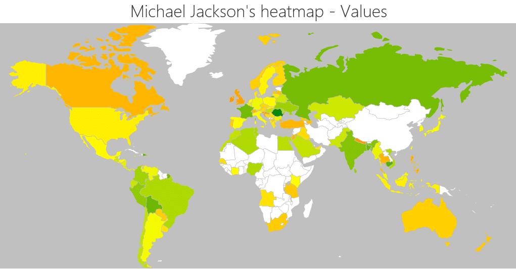 Michael Jackson biggest markets by values