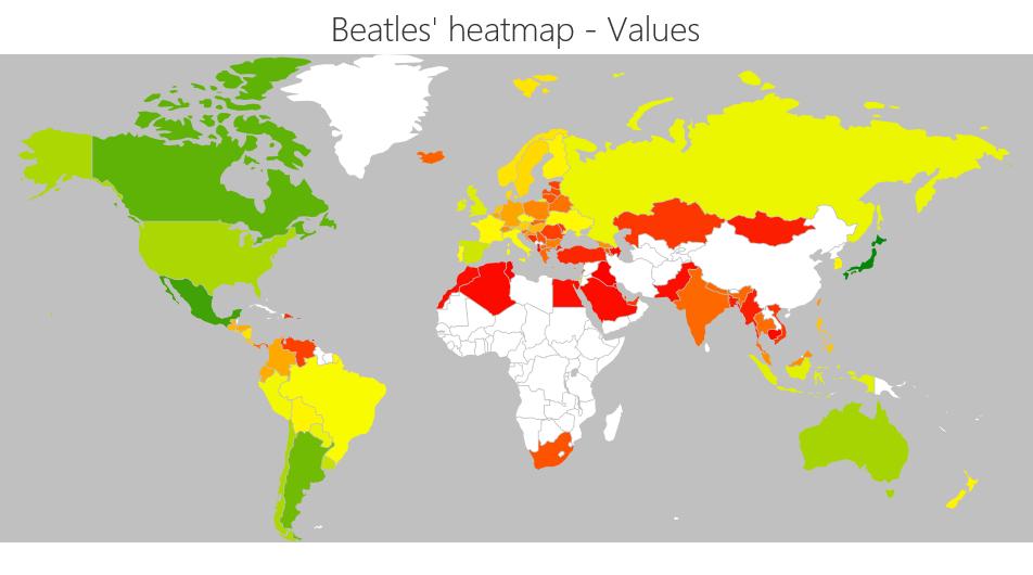 Beatles global heatmap map by value